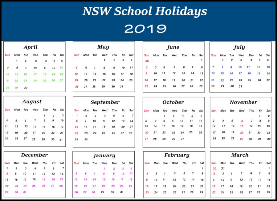 NSW School Holidays 2019