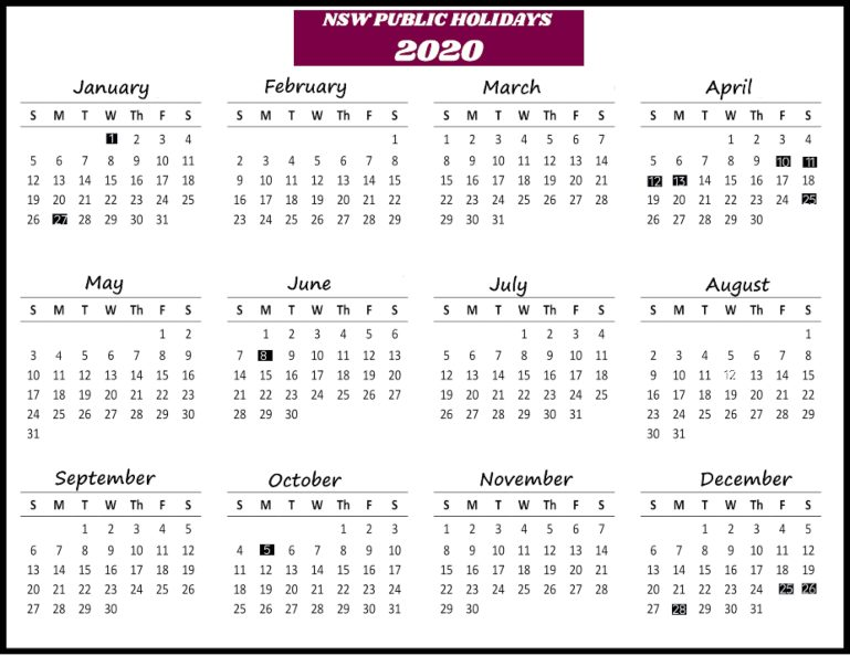 NSW Public Holidays 2020